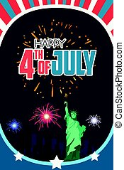 Happy Fourth of July Poster Illustration