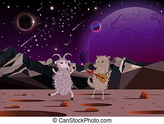 Happy Funny White Cartoon Fluffy Goat dance and fluffy dog playing a guitar on another planet in open space