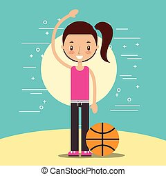 happy girl with sport basketball ball