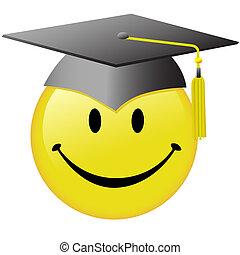 A happy smiley face graduate in a graduation day mortar board cap.