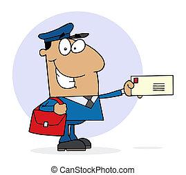 Hispanic Postal Worker Mail Man Holding A Letter
