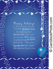 Happy holidays greetings on many languages, send it to your friends all over the world and they understand your message, vector illustration