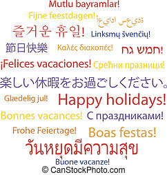 Happy holidays in many languages, vector illustration
