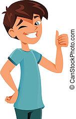 happy kid gesturing ok sign