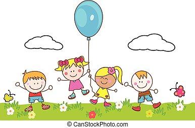 Happy kids playing balloon at park