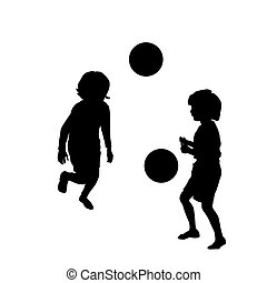 Happy kids playing soccer