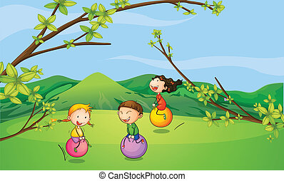 Illustration of happy kids playing with the bouncing balls