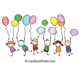 happy kids with balloons