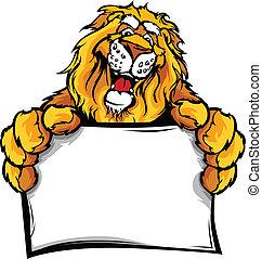 Lion Head Smiling Mascot Holding Sign Vector Illustration