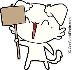 happy little cartoon dog holding sign