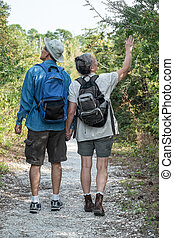 Backview of attractive mature or senior couple holding hands while hiking on a nature trail wearing backpacks.