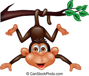 Vector illustration of happy monkey cartoon
