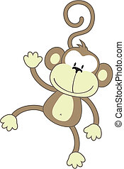 isolated cartoon monkey, individual objects very easy to edit