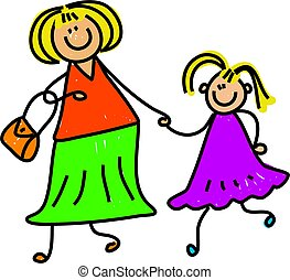 happy mother and daughter holding hands - toddler art series
