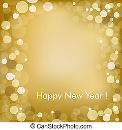 Happy New Year Golden Background With Stars And Text, Vector Illustration