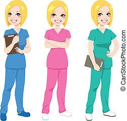Beautiful happy blonde nurse posing in three different color scrubs uniform