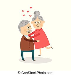 Happy old, elder, senior couple hugging, laughing