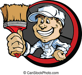 Professional Painter with Paint Brush Vector Illustration