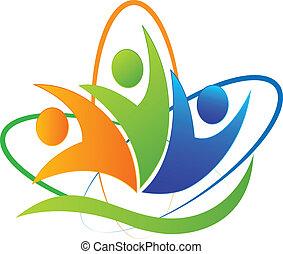 Happy people success application icon logo vector