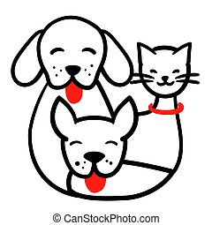 Happy pets hand drawn line illustration. Dogs and cat together round doodle logo for highlights. Domestic animals outline vector card. Three funny sketch animal isolated on white background