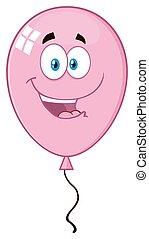 Happy Pink Balloon Cartoon Mascot Character