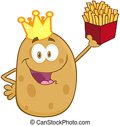 Potato With Crown Holding Up A French Fries