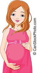 Happy pregnant woman prepared to be mother. Pregnant woman in pink pregnant dress is prepared for maternity.