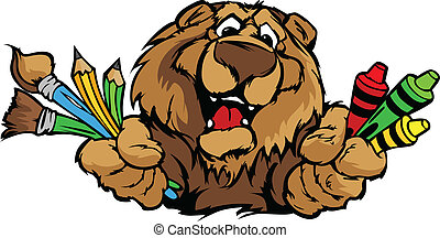 Happy Preschool Bear Mascot Cartoon Vector Image