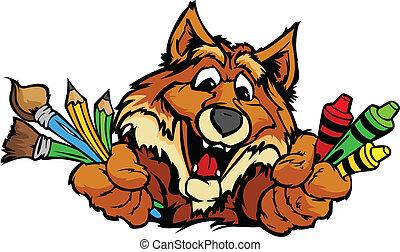 Happy Preschool Fox Mascot Cartoon Vector Image