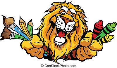Happy Preschool Lion Mascot Cartoon Vector Image
