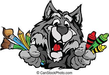 Happy Preschool Wolf Mascot Cartoon Vector Image