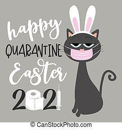 Happy Qurantine Easter 2021- Cool cat in bunny ears and face mask. Funny greeting card for Easter in covid-19 pandemic self isolated period.