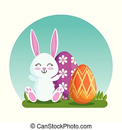 happy rabbit with easter eggs decoration