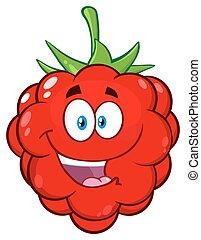 Happy Raspberry Fruit Cartoon Mascot Character.