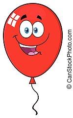 Happy Red Balloon Cartoon Mascot Character