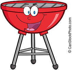 Happy Red Barbecue Cartoon Mascot Character