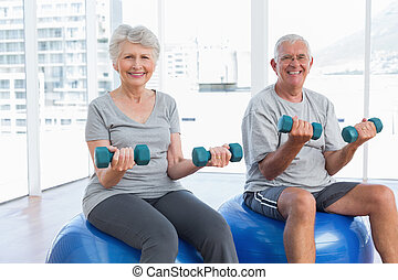 Happy senior couple sitting on fitness balls with dumbbells in the medical office