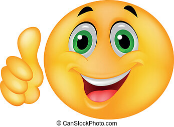 Happy Smiley Emoticon Face with thumb up