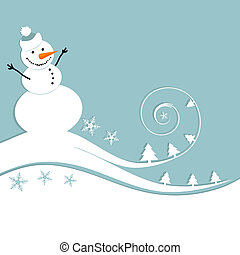 Happy snowman, christmas card
