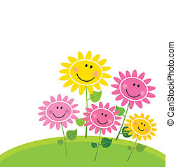 Cute flower garden with happy flowers. Vector Illustration.