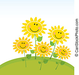 Cute garden with happy flowers. Vector Illustration.
