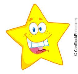 Happy Star Mascot Cartoon Character