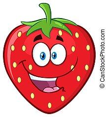 Happy Strawberry Fruit Cartoon Mascot Character