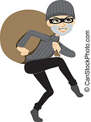 Happy thief sneaking carrying a huge bag of stolen property