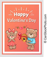 Happy Valentines Male Teddy Bear Holds Hive Honey