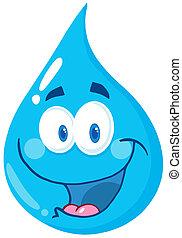 Water Drop Cartoon Character