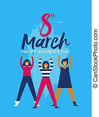 Happy Womens Day girl group for social event card