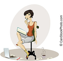 happy young woman drawing