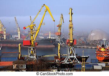 Black sea ship port in Odessa, Ukraine