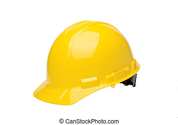 Yellow hardhat isolated on a white background.